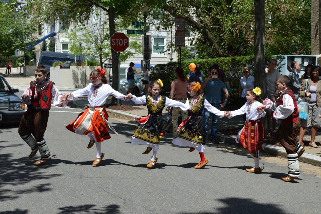 Beautiful Bulgarian horo performed by the students right on the street. Drivers enjoying the show did not complain for the traffic jam.